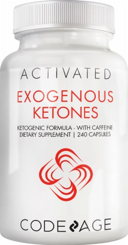 Codeage Exogenous Ketones with Caffeine Dietary Supplement Capsules Perspective: front