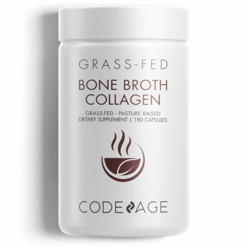 Codeage Bone Broth Collagen Dietary Supplement Capsules Perspective: front