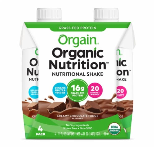 Orgain Organic Creamy Chocolate Fudge Nutritional Shake Perspective: front