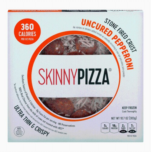 SkinnyPizza Uncured Pepperoni Ultra Thin & Crispy Pizza Perspective: front