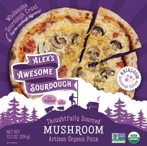 Alex's Awesome Sourdough Organic Mushroom Pizza Perspective: front