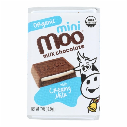 Organic Mini Moo Milk Chocolate Candy  - Case of 14 - .07 OZ Perspective: front