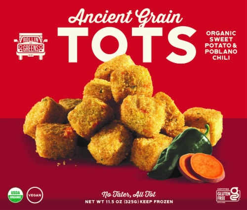 RollinGreens Organic Sweet Potato & Poblano Chili Ancient Grain Millet Tots Perspective: front