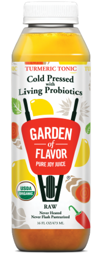 Garden of Flavor Turmeric Tonic Cold Pressed with Living Raw Probiotics Juice Perspective: front