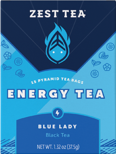 Zest Tea Energy Tea Blue Lady Black Tea Perspective: front