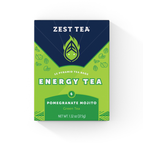 Zest Tea Pomegranate Mojito Energy Green Tea Perspective: front