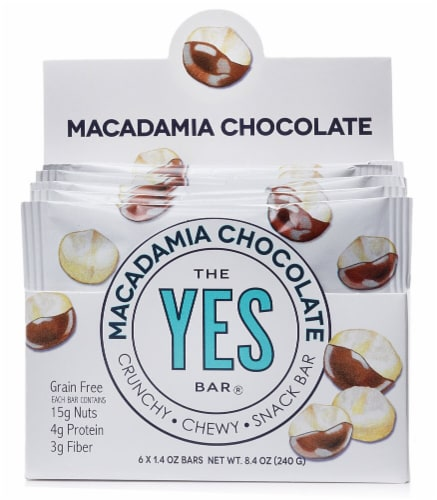 The YES Bar  Gluten Free Real Food Paleo Snack Bar   Macadamia Chocolate Perspective: front