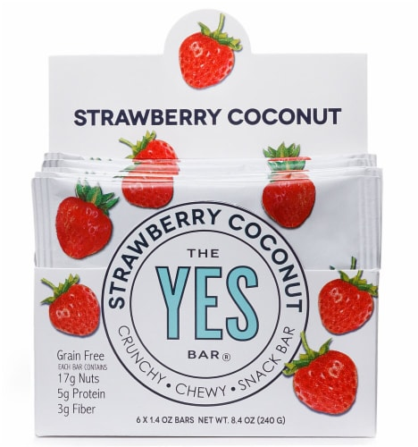 The YES Bar  Gluten Free Real Food Paleo Snack Bar   Strawberry Coconut Perspective: front