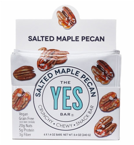 The YES Bar  Vegan Gluten Free Real Food Paleo Snack Bar   Salted Maple Pecan Perspective: front