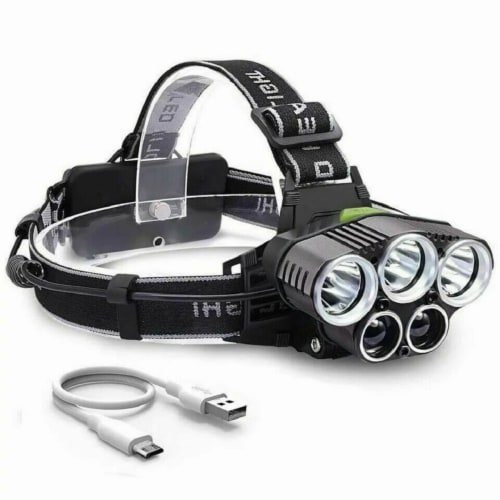 250000LM 5X T6 LED Headlamp Rechargeable Head Light Flashlight Torch Lamp Perspective: front