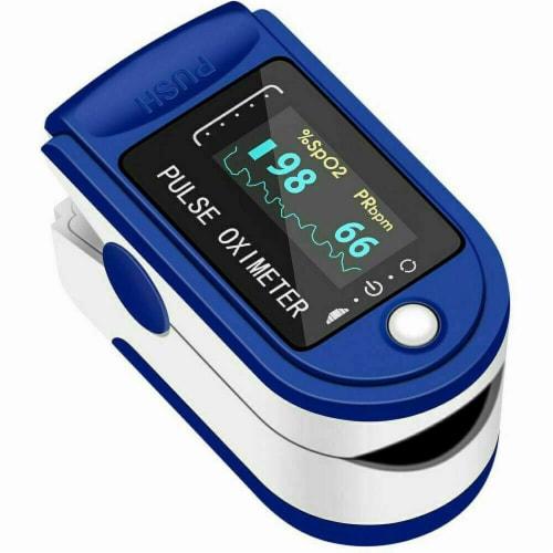 Pulse Oximeter Fingertip Blood Oxygen SpO2 Monitor PR PI Heart Rate Oximeter Perspective: front