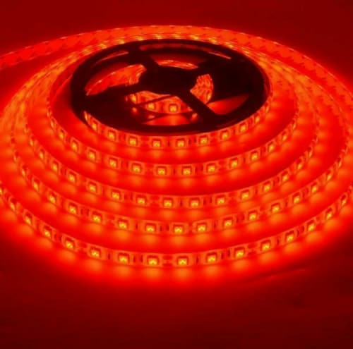 16FT 5630 Super Bright Waterproof 300 LED Strip Light DC12V 6A W/3M Tape Lamp (red) Perspective: front