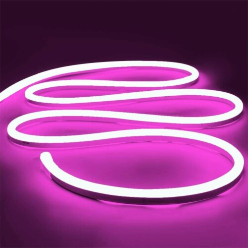 12V Flexible LED Strip Waterproof Sign Neon Lights Silicone Tube (5M - 16.4 FT) pink Perspective: front