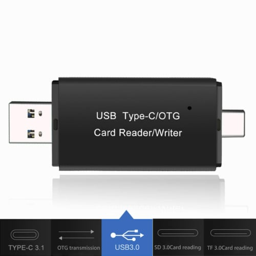 SANOXY 3 in 1 Type C Micro USB & USB OTG Adapter SD TF Card Reader Perspective: front