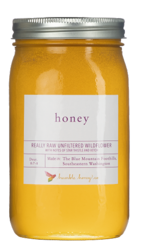 Humble Honey Co. Really Raw Unfiltered Wildflower Honey Perspective: front