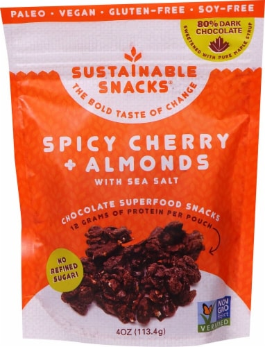 Sustainable Snacks Chocolate Superfood Snacks Spicy Cherry and Almonds with Sea Salt Perspective: front