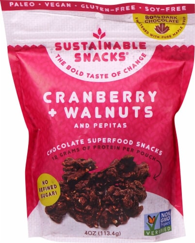 Sustainable Snacks  Chocolate Superfood Snacks   Cranberry Walnuts and Pepitas Perspective: front