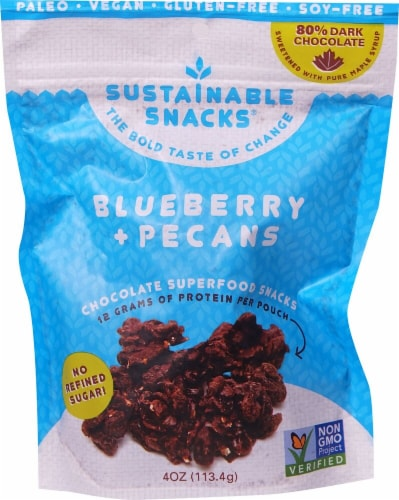 Sustainable Snacks  Chocolate Superfood Snacks    Blueberry and Pecans Perspective: front