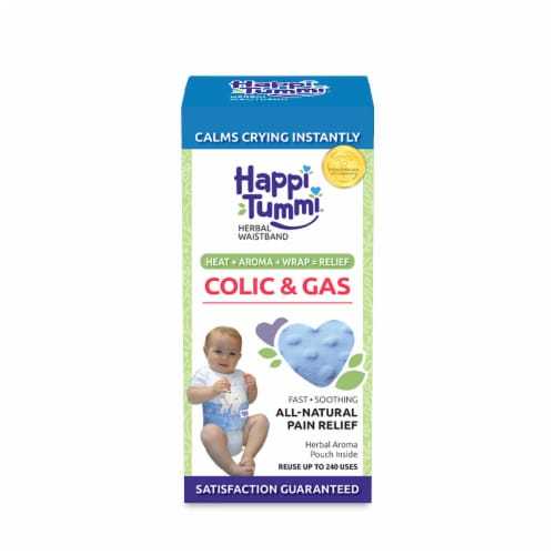 Happi Tummi:All Natural Fast Relief Waistband for Colic & Gas in Babies and Toddlers in Blue Perspective: front