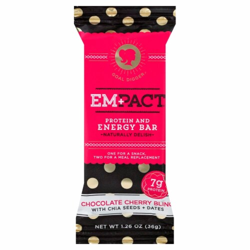 Empact Chocolate Cherry Bling Protein and Energy Bar Perspective: front