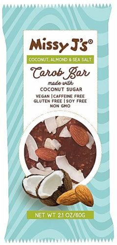 Missy J's Coconut Almond & Sea Salt Carob Bar Perspective: front