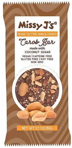 Missy J's  Carob Bar Vegan Gluten Free   Peanut Butter Quinoa Crunch Perspective: front