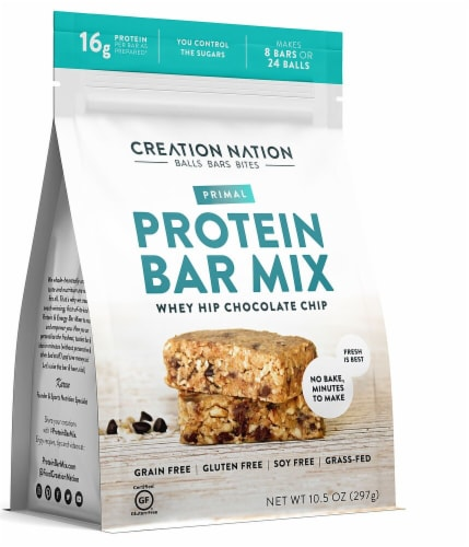 Creation Nation Whey Hip Chocolate Chip No Bake Gluten Free Protein Bar Mix Perspective: front