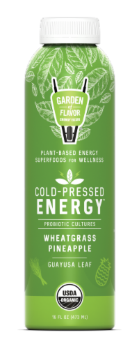 Garden of Flavor Cold-Pressed Energy Wheatgrass Pineapple Juice Perspective: front