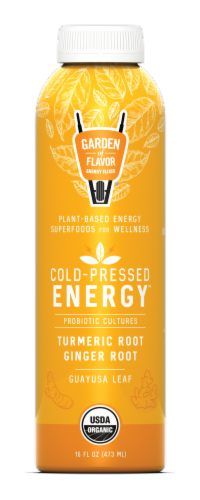 Garden of Flavor Cold-Pressed Energy Turmeric Root Ginger Root Juice Perspective: front