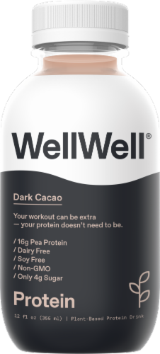 WellWell Protein Dark Cacao Plant-Based Protein Drink Perspective: front