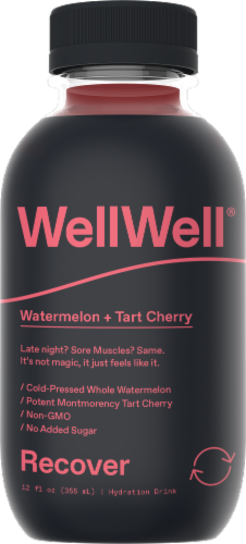 WellWell Recover Watermelon + Tart Cherry Hydration Drink Perspective: front