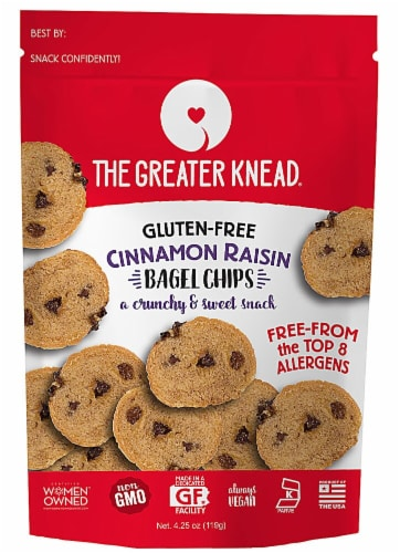 The Greater Knead Gluten Free Cinnamon Raisin Bagel Chips Perspective: front