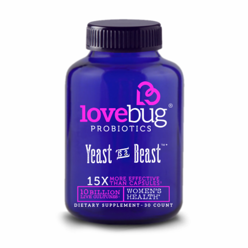 Lovebug Probiotics Yeast is a Beast Capsules Perspective: front