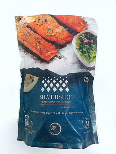 Silverside Frozen Coho Salmon Portions Perspective: front