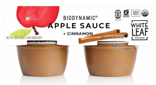 White Leaf  Biodynamic Organic Apple Sauce   Cinnamon Perspective: front
