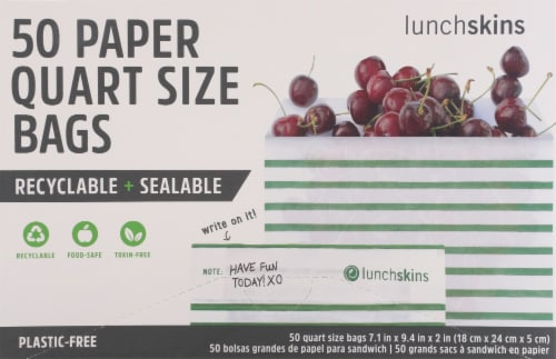 Lunchskins Recyclable and Sealable Stripe Quarts Paper Bags Perspective: front