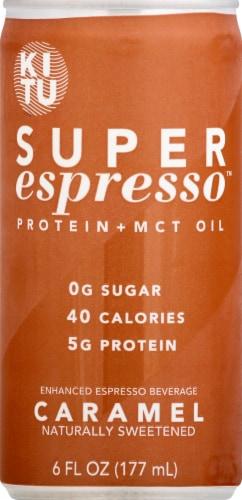 Super Espresso Caramel Enhanced Espresso Beverage Perspective: front