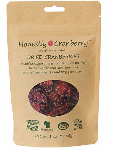Honestly Cranberry Dried Unsweetened Cranberries Perspective: front