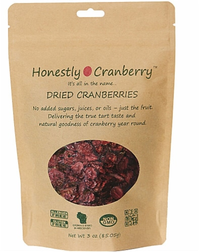 Honestly Cranberry Unsweetened Dried Cranberries Perspective: front