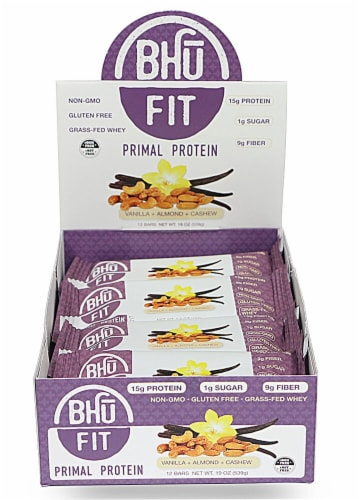 BHU  Fit Primal Grass-Fed Whey Protein Bar   Vanilla Almond Cashew Perspective: front