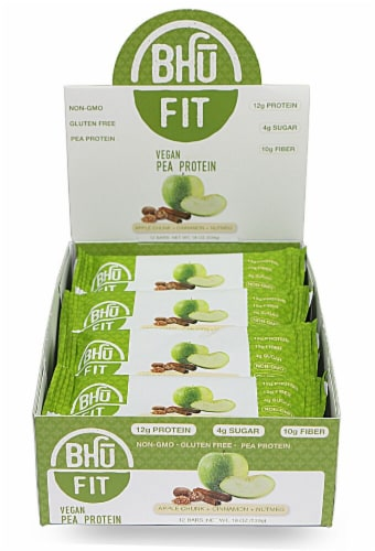 BHU  Fit Vegan Organic Pea Protein Bar   Apple Chunk+Cinnamon+Nutmeg Perspective: front