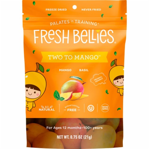 Fresh Bellies Mango Basil Baby Food Snacks Perspective: front