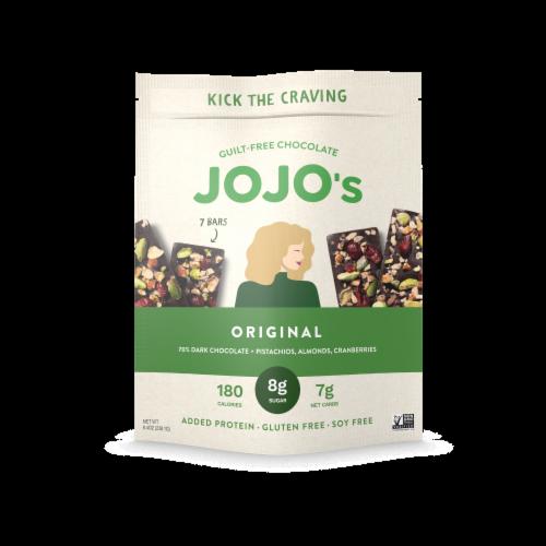 JOJO's Chocolate Original Pistachios Almonds & Cranberries Dark Chocolate Bar Perspective: front
