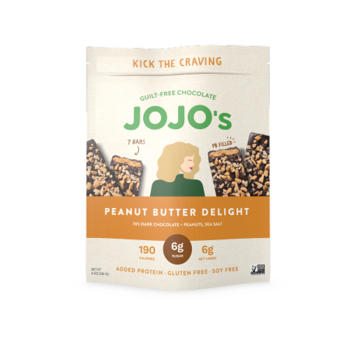 JOJO's Chocolate Peanut Butter Delight Peanuts & Sea Salt Dark Chocolate Bar Perspective: front