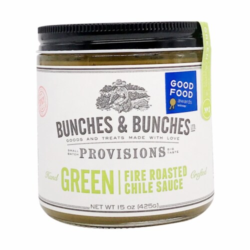 Bunches & Bunches Green Fire Roasted Chile Sauce Perspective: front