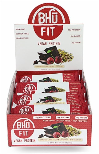 BHU  Fit Vegan Pea Protein Bar   Chocolate+Tart Cherry+Pistachio Perspective: front