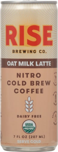 Rise Nitro Brewing Co. Dairy Free Oat Milk Latte Nitro Cold Brew Coffee Perspective: front