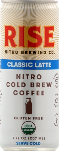 Rise Nitro Brewing Co. Classic Latte Nitro Cold Brew Coffee Perspective: front