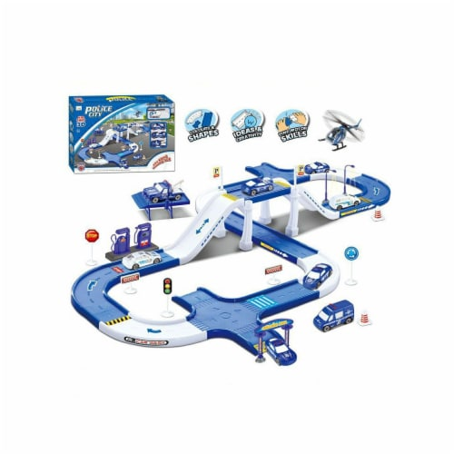 Police city track toy - with garage, car wash and gasoline. Perspective: front