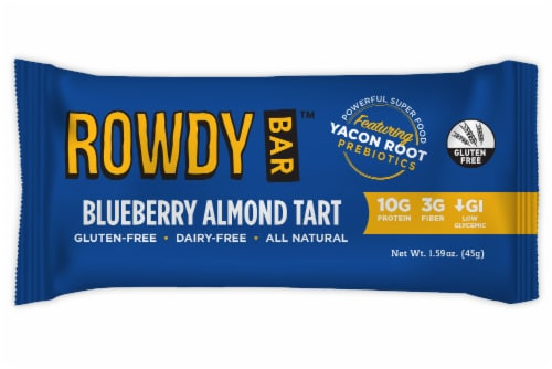 Rowdy Bar Blueberry Almond Tart Prebiotic Bar Perspective: front